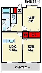 福岡県遠賀郡遠賀町大字今古賀の賃貸マンションの間取り