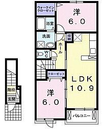 岡山県倉敷市北畝2丁目の賃貸アパートの間取り