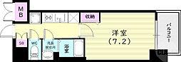 プレサンス兵庫ヴィアーレ 8階1Kの間取り