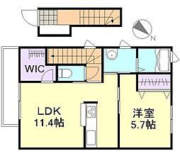 岡山県倉敷市連島町連島の賃貸アパートの間取り