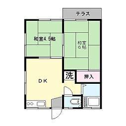 飯草ハイツB[1階]の間取り