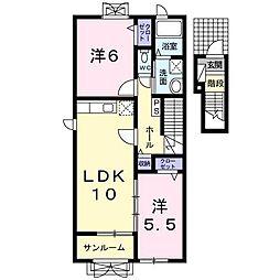 パレス ハチマンI 2階2LDKの間取り