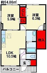 福岡県北九州市八幡西区永犬丸3丁目の賃貸アパートの間取り
