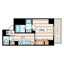 アムール香川 5階1Kの間取り