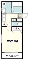 小田急江ノ島線 大和駅 徒歩13分の賃貸マンション 1階1Kの間取り