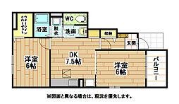 福岡県北九州市若松区宮丸2丁目の賃貸アパートの間取り