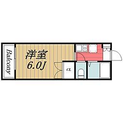 JR東金線 求名駅 徒歩13分の賃貸アパート 2階1Kの間取り