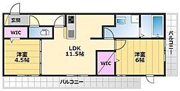 (仮)D-room浜寺元町3丁 2階2LDKの間取り