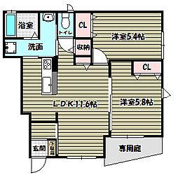 大阪府大阪狭山市狭山5丁目の賃貸アパートの間取り