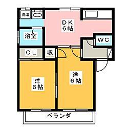 プレジール宮脇C[1階]の間取り