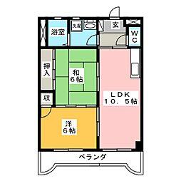 岐阜県岐阜市六条東1の賃貸アパートの間取り