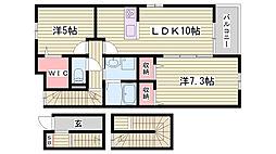 JR加古川線 滝野駅 徒歩14分の賃貸アパート 3階2LDKの間取り