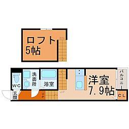 愛知県名古屋市昭和区滝子通4丁目の賃貸アパートの間取り