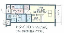 The Well Mejiro 地下1階1Kの間取り