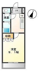 愛知県名古屋市緑区桶狭間上の山の賃貸アパートの間取り