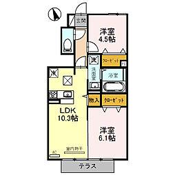 兵庫県姫路市田寺東2丁目の賃貸アパートの間取り