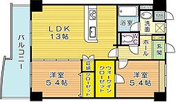 福岡県北九州市戸畑区天籟寺2丁目の賃貸マンションの間取り