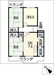 ハイツYAMANI[3階]の間取り