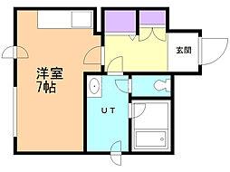 サンテ前田 4階ワンルームの間取り