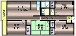 東京都調布市菊野台1の賃貸マンションの間取り