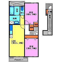 プランタンD[2階]の間取り