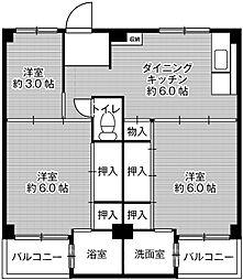 ビレッジハウス伏屋7号棟[1階]の間取り