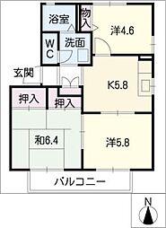 サンハイツ徳重II[2階]の間取り