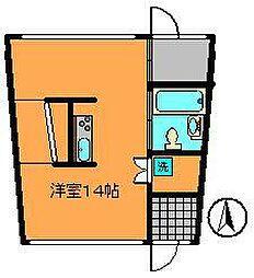 近鉄奈良線 生駒駅 徒歩10分の賃貸マンション 1階ワンルームの間取り