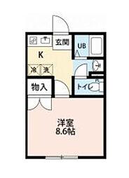 千葉県流山市鰭ケ崎の賃貸アパートの間取り