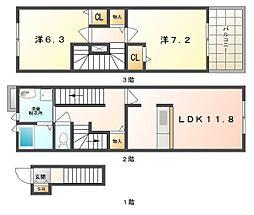 サンリットツインA[3階]の間取り