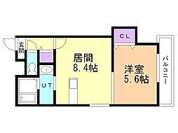ディッセン豊平橋 5階1LDKの間取り