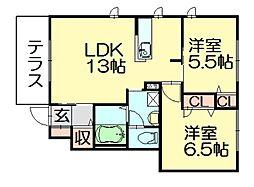 シャーメゾン桜B[1階]の間取り