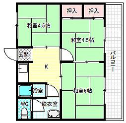 西田マンション[1階]の間取り