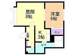 エクシード神宮前弐番館 2階1LDKの間取り