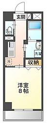 岡山電気軌道清輝橋線 大雲寺前駅 徒歩6分の賃貸マンション 7階1Kの間取り