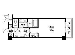 ファーストクラス神道寺 5階1Kの間取り