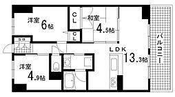 兵庫県神戸市兵庫区松原通5丁目の賃貸マンションの間取り