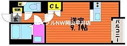 JR山陽本線 瀬戸駅 徒歩26分の賃貸アパート 1階ワンルームの間取り