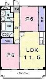 岡山県岡山市東区西大寺中野丁目なしの賃貸マンションの間取り