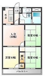 グランメール勝田[4階]の間取り