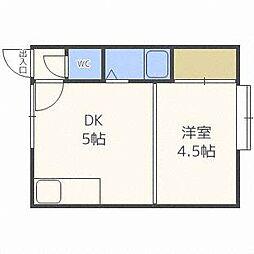 クルーズハウス北31条B棟[2階]の間取り