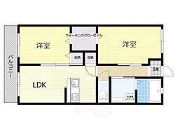 阪急京都本線 茨木市駅 徒歩25分の賃貸アパート 1階2LDKの間取り