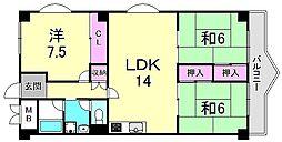兵庫県西宮市神垣町の賃貸マンションの間取り