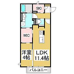 イートピア長野駅東口 1階1LDKの間取り