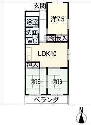 愛知県名古屋市港区当知1丁目の賃貸マンションの間取り