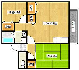 兵庫県神戸市垂水区仲田3丁目の賃貸アパートの間取り