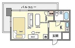 家具・家電付きメゾン・ド・祇園 E[3階]の間取り