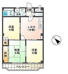 愛知県名古屋市緑区鳴海町字赤塚の賃貸マンションの間取り