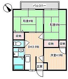 山口県下関市長府日の出町の賃貸アパートの間取り