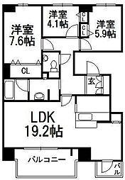 北海道札幌市中央区北九条西23丁目の賃貸マンションの間取り